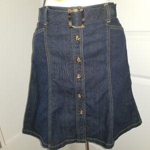 Ann Taylor blue denim A line skirt petite 0P